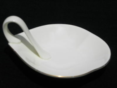 Vintage American Bone China Trimmed in Gold Cream Colored Trinket dish w/Handle