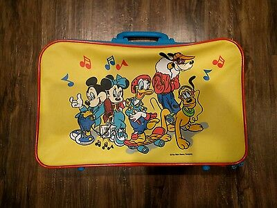 Vintage MICKEY MOUSE MINNIE MOUSE Disney Kids Suitcase Overnight Bag Luggage