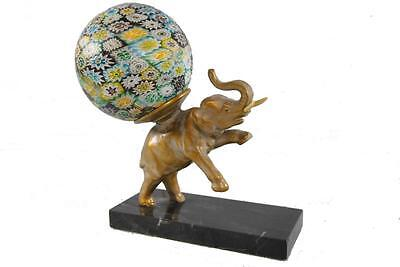 Antique Marble Base Elephant Lamp With Millefiori Ball Shade