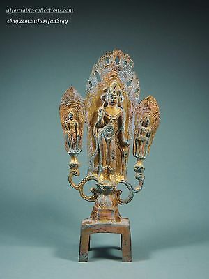 Antique Chinese Gilt Bronze Figure of Guanyin standing on base
