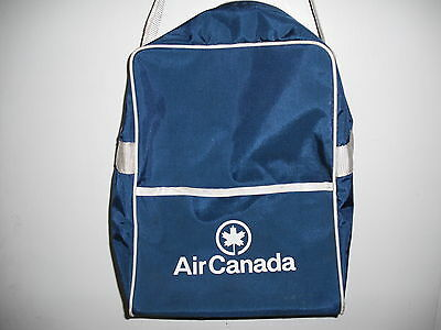 Vintage Ac Air Canada Airlines Promo Blue Vinyl Crew Cabin Carry All Tote Bag