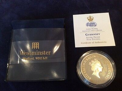GUERNSEY - 1997 SILVER PROOF with GOLD CAMEO £5 CROWN COIN - Wedding Anniversary