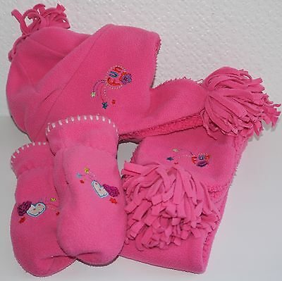 Debenhams Girls Hat Scarf Mittens Set Age 3-6 Years Pink