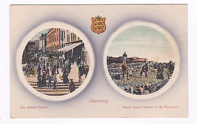 Guernsey Postcard. Market Square & French Stone Crackers
