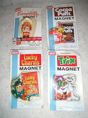 Lot of4 Retro Collectible Trix, Campbells, LuckyCharms &CocoaPuffs Fridge Magnet