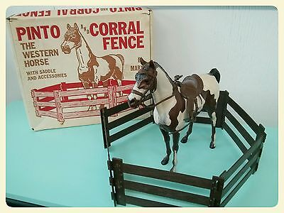 Marx Best of the West Pinto Horse with Original Box  & Accessories
