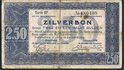 NETHERLANDS BANKNOTE 2.5 P62 1938 VG Serie BF