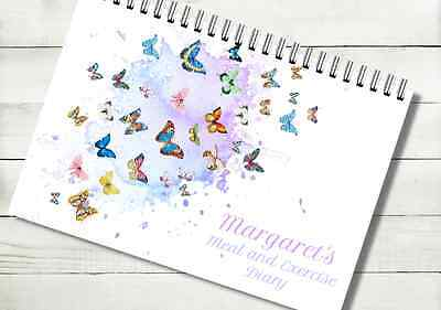 Personalised Butterfly Food Diary Weight Loss Notebook Slimming World log 6 mths