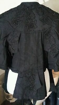 Antique STUNNING Rare Victorian Ornate Mourning Cape Caplet Mantle Size S/M