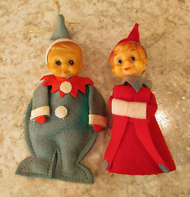 2 Vtg Felt Xmas Pixie Elf Shelf Sitters Ornaments Painted Rubber Face Japan Ex