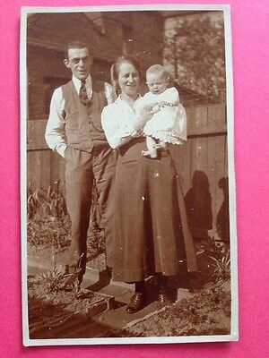 Antique Postcard Social History Picture Mum Dad Baby Real Photo Postcard
