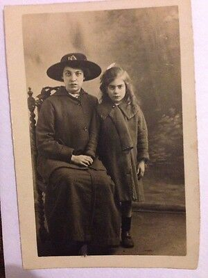 Vintage Postcard Real Photo Woman And Girl Portrait Ref:02