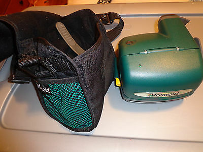 Vintage Green Polaroid One Step Express Instant Camera With Polaroid Bag
