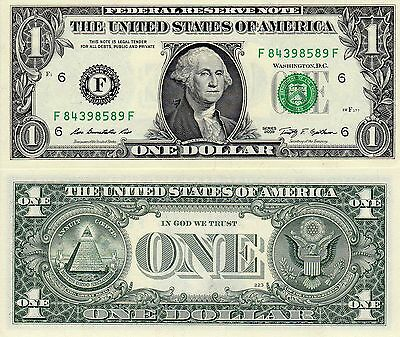 Usa One Dollar $1 Federal Reserve Note F Series Uncirculated Washington Dc Note