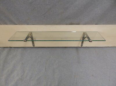 "Antique 24"" Glass Bathroom Kitchen Shelf Nickel Brass Brackets Fixture 30-17E"