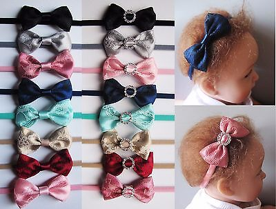 Baby Girls Skinny Lace Satin Bow Soft Elastic Headband Hair Band Accessories