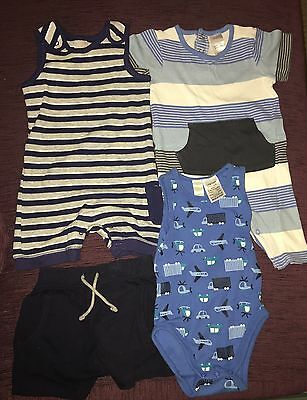 Group of Boys Size 0 Summer Clothes and Bibs.