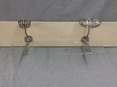 "Antique 24"" Glass Shelf Nickel Brass Brackets Cup Holder Soap Dish SMG 32-17E"