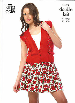 King Cole,ladies Cable Bobble & Lace Waistcoat & Sweater Double Knitting Pattern