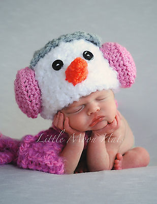 Newborn/Baby Crochet Snowman with Pink Earmuffs Hat and Scarf Set Photo Prop