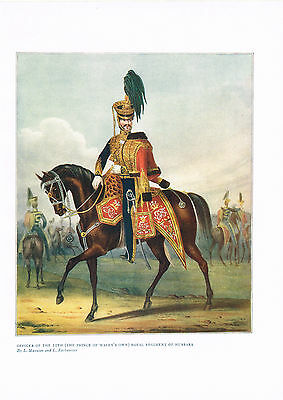 Officer Of The 10th (The Prince Of Wale's Own) Antique Military Picture Print