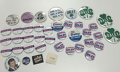 RICHARD M DALEY For Mayor Political Lot of 38 Pins and Buttons from Election