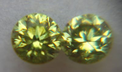 Demantoids from Russia, 0.46ct, VS1, Lime Yellow-Green, Brilliant Gems, Pair!