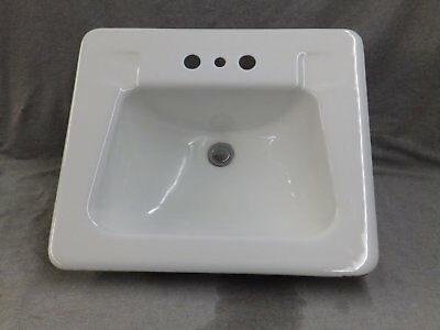 Vtg Mid Century Cast Iron White Porcelain Old Drop In Bathroom Sink Crane 33-17E