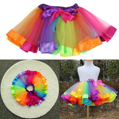 Girls Kids Rainbow Party Ballet Dance Tutu Skirt Tulle Dress Pettiskirt Costume