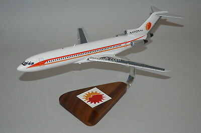 National Airlines 727 mahogany wood airplane scale model 1/100 scale
