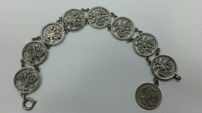 RR Very beautiful Russian Imperial silver coins bracelet Nicholas II Romanov