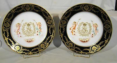 Pair Antique 2nd Emppire Sevres Hand Painted Cabinet Plates 1859-1867