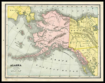 ALASKA Anchorage Klondike U.S. State 1892 antique color lithograph Map