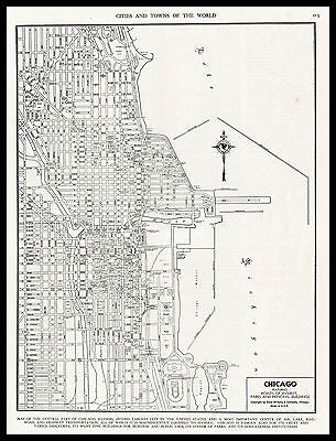 City of CHICAGO Illinois 1945 antique detailed view Plan Map