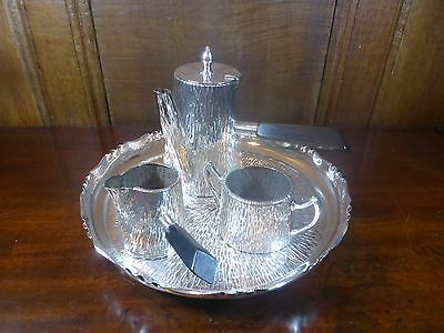 STUNNING ANTIQUE WMF Silver Plated ARTS & CRAFTS BARK EFFECT CHOCOLATE SET/TRAY