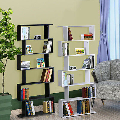 6Tie S Shape Wood Bookcase Bookshelf Shelves Storage Display Unit Home Furniture