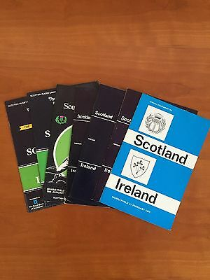7 Scotland v Ireland Rugby International Programmes - '71,'77,'79,'81,'83,'85,89