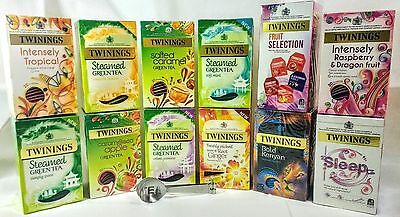 Twinings 12 Boxes Variety Pack 245 Enveloped  tea bags with Tea bag squeezer