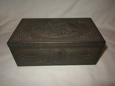 Vintage State Express embossed metal cigarette box with wood lining