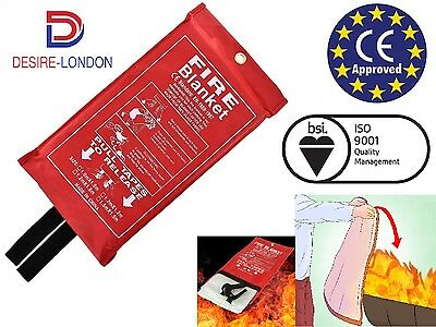 Home Safety Fire Blanket Large 1M X 1M In Case Quick Release Protection Kitchen
