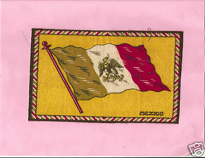 FELT FLAG   said to be MEXICO 20x13 cm pre-WWII cigar mat