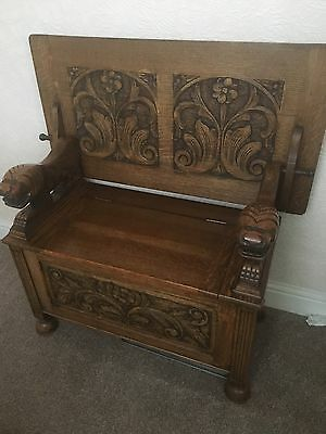 Antique Carved Oak Box Monks Bench / Settle Seat Metamorphic Bench with Storage
