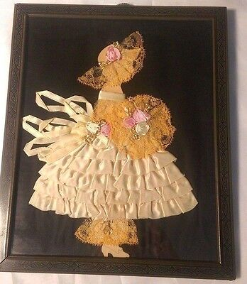 Vintage FRAMED RIBBON DOLL Paper ART DECO Satin & Lace Silhouette Lady BEAUTIFUL
