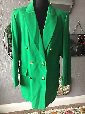 St Michael Vintage Green Double Breasted Wool Blazer 12 14 16