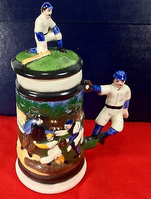 Antique 1930's Beer Stein Early Years Of Baseball Ceramic With Lid Numbered RARE