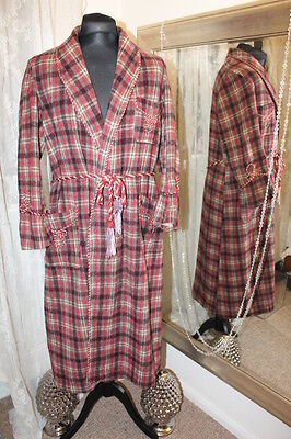 Marquis brown plaid checked wool dressing gown smoking jacket 1940s 50s - Large