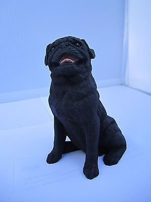 Pug black dog figure model ornament by Castagna sitting hand made in Italy