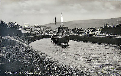 Early Printed Postcard, Steamer in the canal, Fort Augustus.
