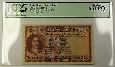 1950-51 10.4.51 South Africa 10 Shillings Note SCWPM# 91c PCGS Gem 66 PPQ *RARE*