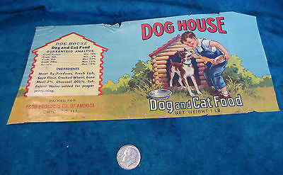 Vintage Dog Food Label:  1960s Dog House Dog and Cat Food, Chicago